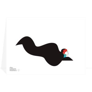 Steam-Waverz, greetingcard, Lady-klaproos, wenskaart